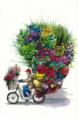 THE FLOWER SELLER ON THE BIKE Modern Russian postcard
