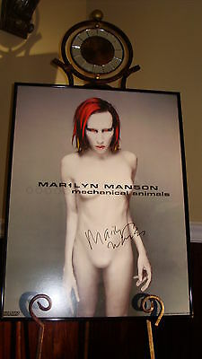 Marilyn Manson - Mechanical Animals Cd Poster Autographed / Signed & Framed!