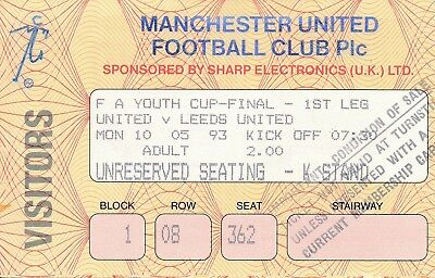 TICKET: FA YOUTH CUP FINAL 1993 Man Utd v Leeds United