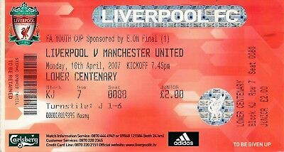 TICKET: FA YOUTH CUP FINAL 2007 Liverpool v Manchester United
