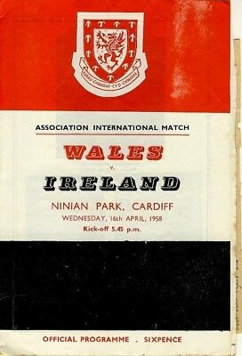 Wales v Northern Ireland (Home International @ Cardiff) 1958 + cuttings