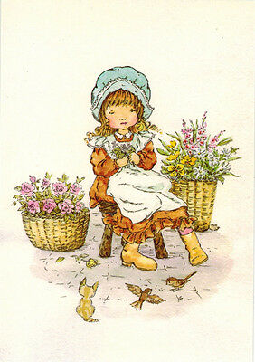 LIttle Flower Seller Kitten Birds Modern Russian postcard