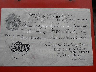 Bank Of England White Five Pounds  -  1951