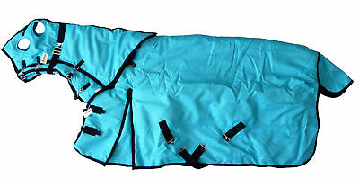 Horse Turnout Blanket Hood Combo Waterproof Ripstop 1200D Heavy Weight Turquoise