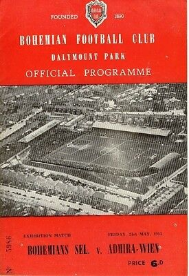 BOHEMIANS Ireland v Admira Austria (Friendly) 1953/4