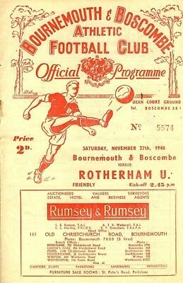 BOURNEMOUTH v Rotherham (Friendly) 1948/9