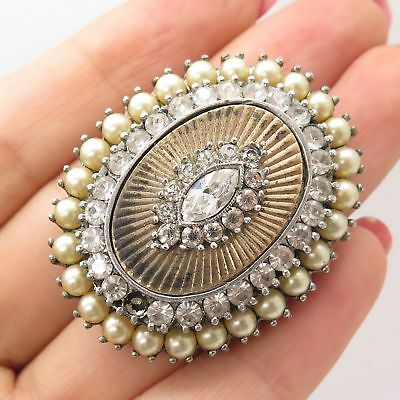 Original Vtg 925 Sterling Silver Marcasite Gem Pearl Imitation Large Floral Pin Brooch Fine Jewelry