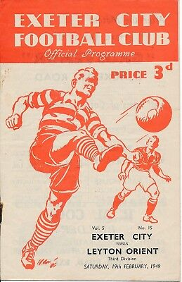 EXETER CITY v Leyton Orient 1948/9 - Football Programme