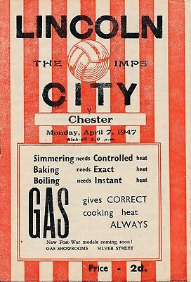 LINCOLN v Chester 1946/7 - Football Programme