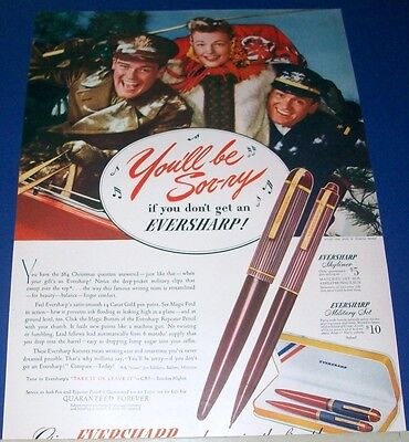 1942 Eversharp Pen Skyliner/Military Set Ad Army Navy men girl Christmas sleigh