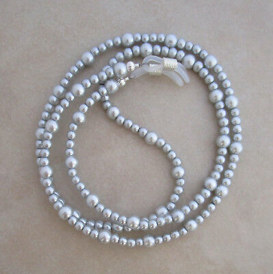 Handcrafted silver pearl beaded reading eyeglass chain holder lanyard