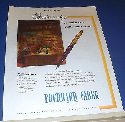 1946 Eberhard Faber No.1 Ball-Point Pen Ad to stimulate clear thinking