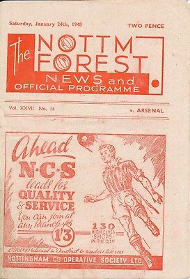 NOTTINGHAM FOREST v Arsenal (Friendly) 1947/8 - Gunners Championship season!