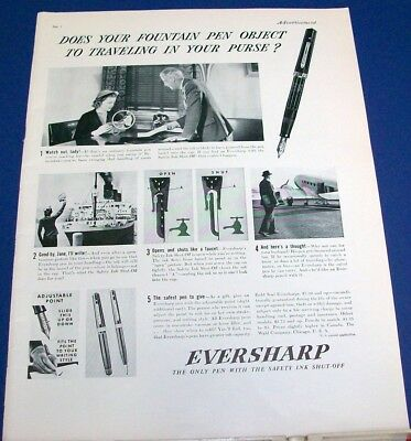1937 Eversharp Wahl Fountain Pen Ad does yours object..