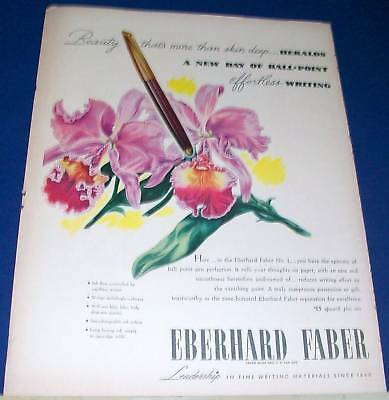 1946 Eberhard Faber Ball Point pen & orchids Ad