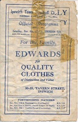 Ipswich v Swindon Town 1947/8 - Football Programme