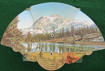 Vintage Bass Funeral Home Advertising Hand Fan Cardboard Litho Timberline Lake