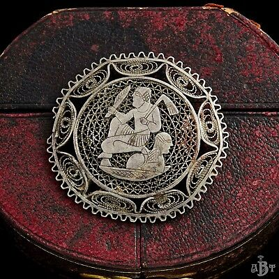 Antique Vintage Nouveau Sterling 800 Silver Filigree Egyptian Revival Brooch Pin