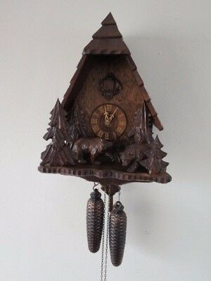 Lovely 8 Day Black Forest Regula Bear Decorated Cuckoo Clock