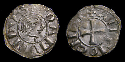 Crusaders Antioch Bohemond III Minority 1149-1163 AR Denier Class B EF