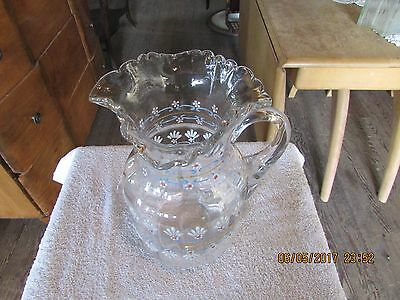Vintage Coudersport Glass Hand Blown Glass Water Pitcher Hand Painted