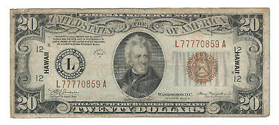 1934A $20 Hawaii Ww2 Emergency Note, Fr2305, Better Fine