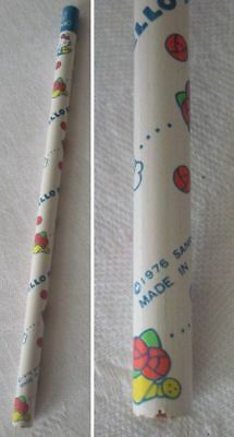 Vintage 1976 Sanrio Hello Kitty Wooden Wood Pencil Unsharpened Rare Collectible