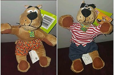 "2 Scooby Doo Dogs 10"" Stuffed Plush  - Pirate & Boxers Laying Down"
