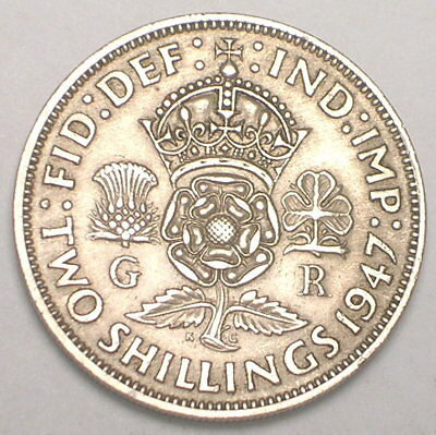 1947 UK Great Britain British Two 2 Shillings Crowned Rose Coin VF+