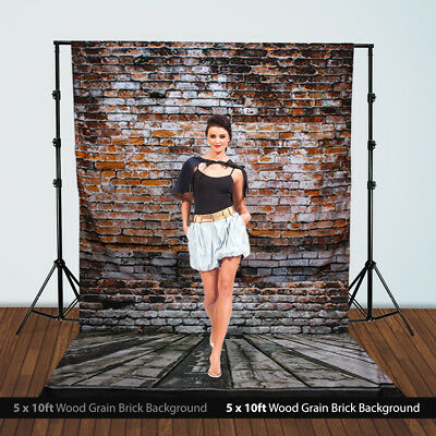 5 ft. x 10 ft. Wood Floor Brick Wall Photography Backdrop Photo Studio Muslin