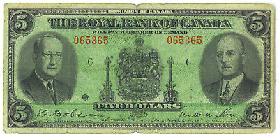 The Royal Bank of Canada 1943 $5 Five Dollars VG/F Chartered Banknote SCARCE