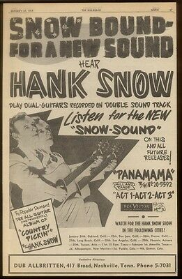 1954 Hank Snow photo Snow Bound song release trade print ad