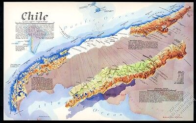 1938 Chile map gorgeous Richard Edes Harrison color art vintage print article