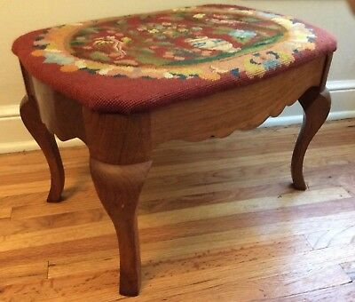 Vintage French country wood footstool stool needlepoint petit point Cabriole leg