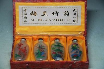 4Pcs Chinese Inside Hand Painting *Meilanzhuju* Glass Snuff Bottle
