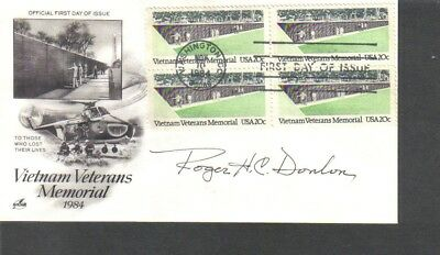 Vietnam Medal of Honor MOH Roger Donlon signed FDC First Day Cover,
