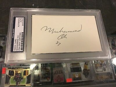 1987 Muhammad Ali Heavyweight Champ Signed 3X5 Index Card Psa Authentic