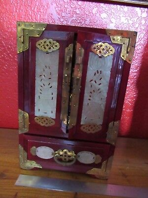 Lovely Vintage Chinese Jade Brass Wood Jewelry Box New