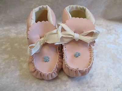 Vintage Baby/Infant Cradle Day Pink Leather Moccasins/Booties - in Orig. Box
