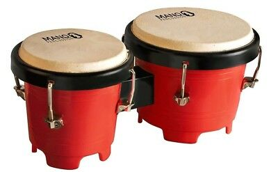 Mano Percussion Mini Bongo Drums, 4.5 & 5 Inch Tunable Heads Red