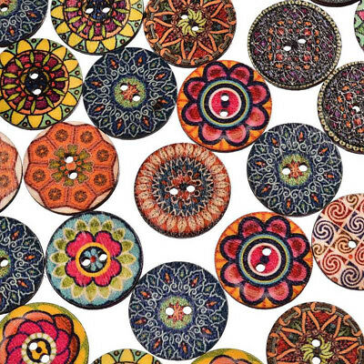 50Pcs Flower Picture Wood Button 2 Holes Mixed Color Apparel Sewing DIY Craft