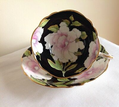 Vintage Paragon Porcelain Pink & White Flowers Cup & Saucer With Gold Gilding