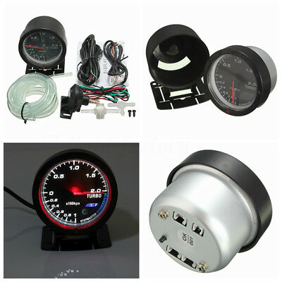 12V 60mm Car Auto White & Red LED Turbo Boost Pointer Meter Gauge Kit Bracket