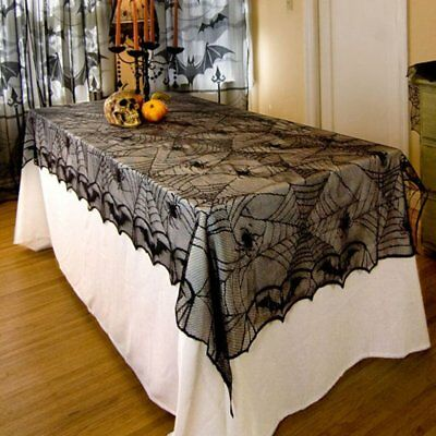 Classic Design Lace Black Spider Wed Party Decorative Tablecloth For Halloween L