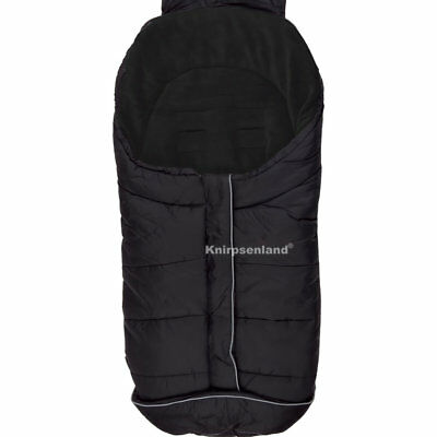 Fußsack Schwarz Kinderwagen Buggy Winter Winterfußsack Universal Thermo Fleece