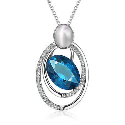 Blue Stone Oval Crystal Gem Necklace Pendant Chain Ladies Women's Gift Charm
