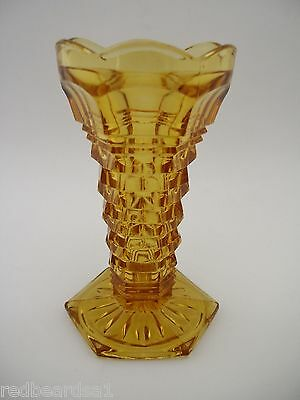 Vintage Amber Depression Glass Vase Art Deco 3 Dimensional Hexagonal Shape 13cms