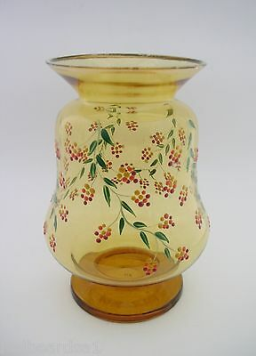 Amber Glass Vintage Vase Hand Painted Flowers Foliage Hand Blown h17cm