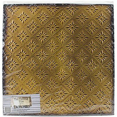 Salvaged, by BCI Crafts Tin Ceiling Tile, Gold Rosette New
