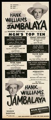 1952 Hank Williams photo Jambalaya song release MGM Records trade print ad